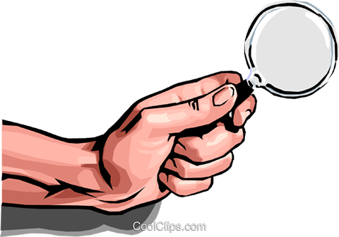 hand with magnifying glass Royalty Free Vector Clip Art illustration peop2477