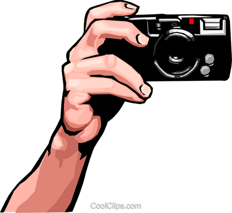 hand with camera Royalty Free Vector Clip Art illustration peop2479