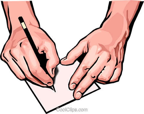 hands with pen and paper Royalty Free Vector Clip Art illustration peop2482