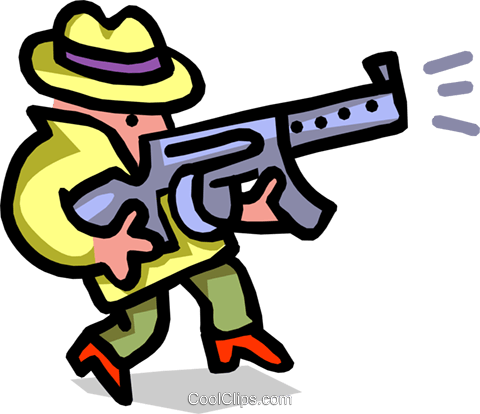 gangster with weapon - cartoon Royalty Free Vector Clip Art illustration peop2490