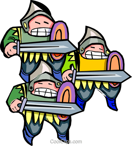 three knights - cartoon Royalty Free Vector Clip Art illustration peop2498