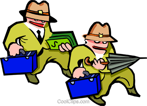 men with briefcases - cartoon Royalty Free Vector Clip Art illustration peop2499