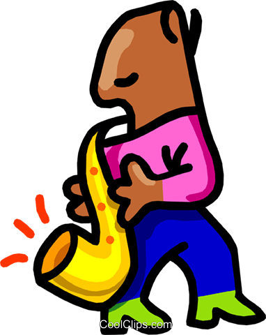 sax player -cartoon Royalty Free Vector Clip Art illustration peop2507