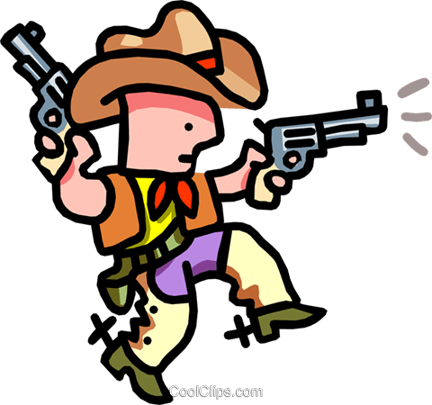 cowboy shooting - cartoon Royalty Free Vector Clip Art illustration peop2508