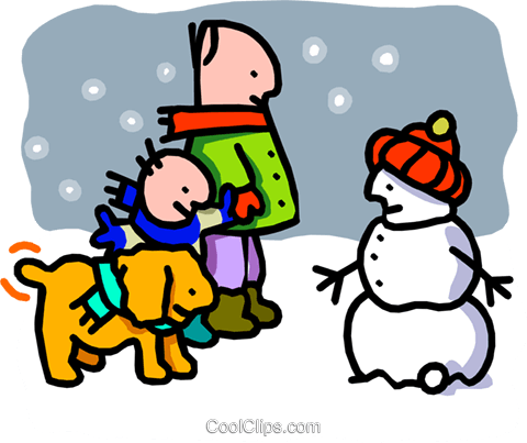 man, son, dog & snowman - cartoon Royalty Free Vector Clip Art illustration peop2509
