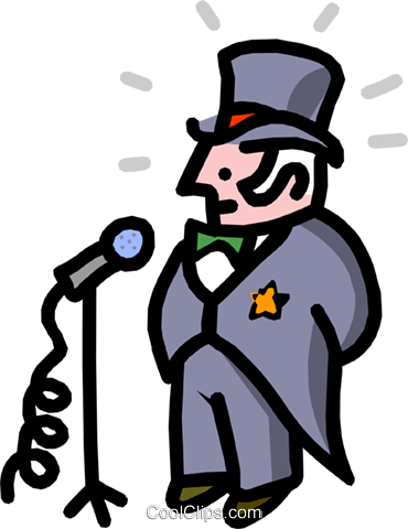 mayor at microphone - cartoon Royalty Free Vector Clip Art illustration peop2517