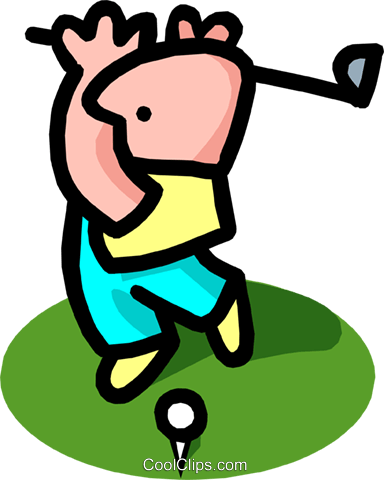 golfer - cartoon Royalty Free Vector Clip Art illustration peop2518