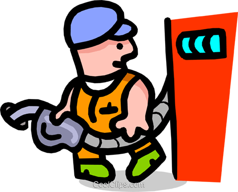 gas attendant - cartoon Royalty Free Vector Clip Art illustration peop2519