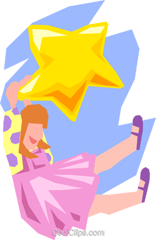 dreaming/hanging on a star Royalty Free Vector Clip Art illustration peop2526