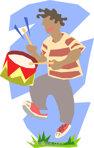 boy playing drum Royalty Free Vector Clip Art illustration peop2527