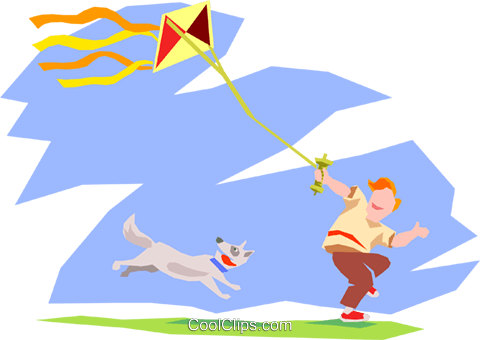 flying a kite Royalty Free Vector Clip Art illustration peop2528