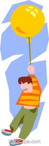 boy holding balloon Royalty Free Vector Clip Art illustration peop2530