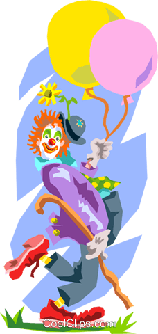 clown with balloons Royalty Free Vector Clip Art illustration peop2531