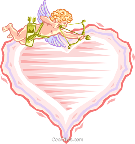 cupid above valentine Royalty Free Vector Clip Art illustration spec0018