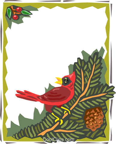 border with bird on branch Royalty Free Vector Clip Art illustration text1534