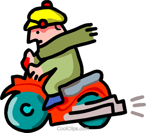 scooter and rider - cartoon Royalty Free Vector Clip Art illustration tran0854