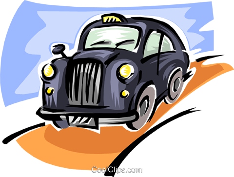 old fashioned taxicab Royalty Free Vector Clip Art illustration tran0855