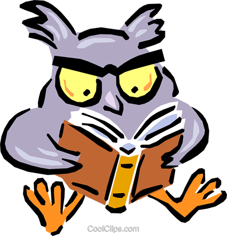 wise old owl Royalty Free Vector Clip Art illustration anim1614