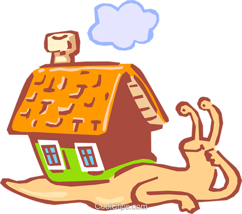 snail carrying house on back Royalty Free Vector Clip Art illustration anim1616