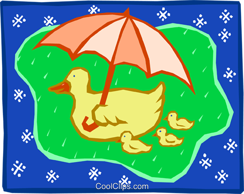 duck flying with umbrella Royalty Free Vector Clip Art illustration anim1618