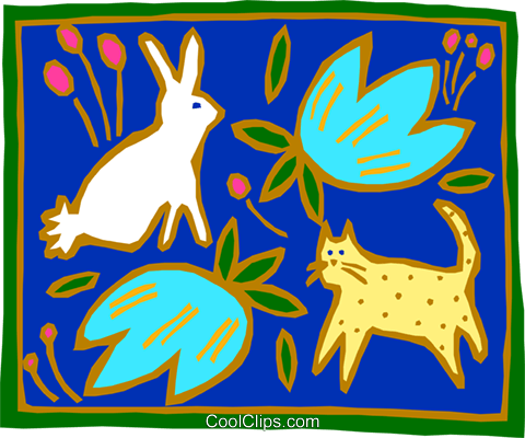 rabbit cat and flowers Royalty Free Vector Clip Art illustration anim1620