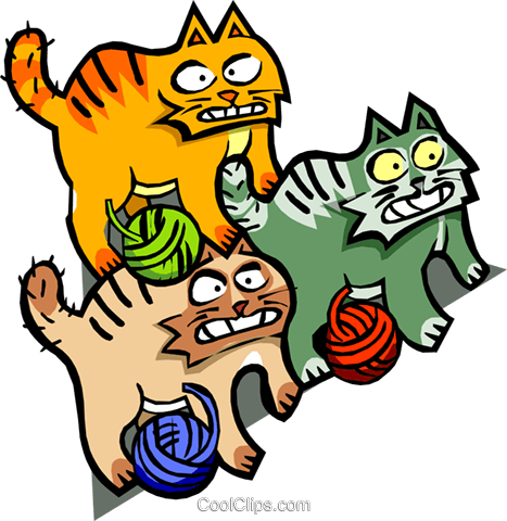 cats and yarn Royalty Free Vector Clip Art illustration anim1623