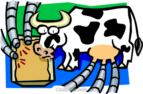 cow as cyclical milking machine Royalty Free Vector Clip Art illustration anim1625