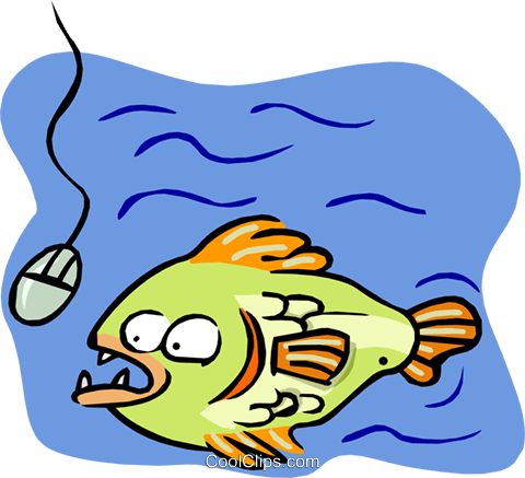 fish going for computer mouse Royalty Free Vector Clip Art illustration anim1626