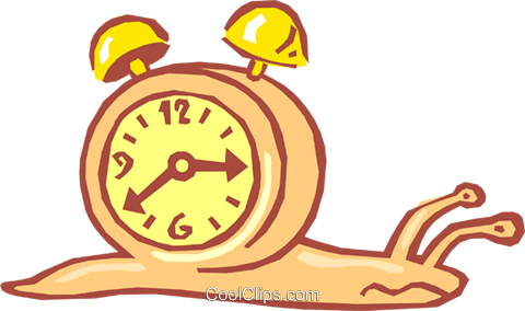 snail with alarm clock on back Royalty Free Vector Clip Art illustration busi1440