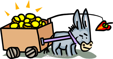 donkey and cart being lead by a carrot Royalty Free Vector Clip Art illustration busi1441