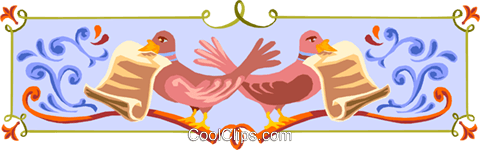 pigeons and scrolls border Royalty Free Vector Clip Art illustration divi0011