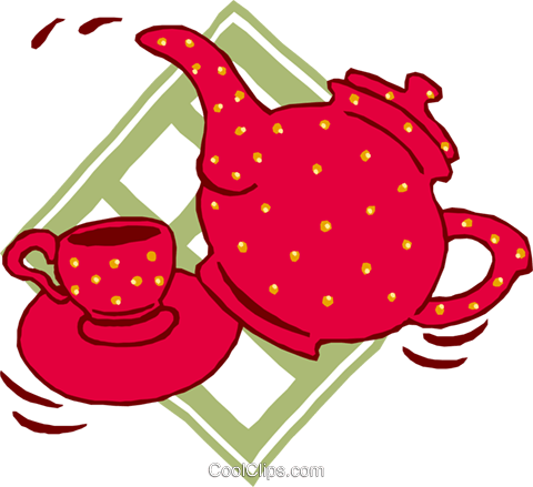 teapot, cup and saucer Royalty Free Vector Clip Art illustration food0881