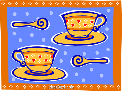 teacups - abstract Royalty Free Vector Clip Art illustration food0882