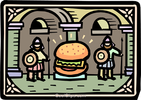 hamburger being guarded Royalty Free Vector Clip Art illustration food0883