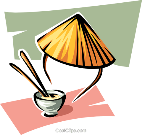 rice bowl and Chinese hat Royalty Free Vector Clip Art illustration food0884