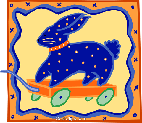 rabbit on wagon - quilt Royalty Free Vector Clip Art illustration hous1209