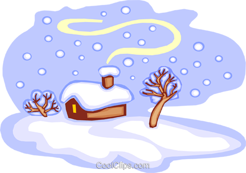 cabin in snow Royalty Free Vector Clip Art illustration natu0771