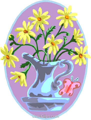 Pitcher of flowers Royalty Free Vector Clip Art illustration natu0783