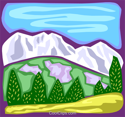 Mountain scene Royalty Free Vector Clip Art illustration natu0791