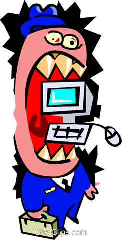 computer mouth - cartoon Royalty Free Vector Clip Art illustration peop2546