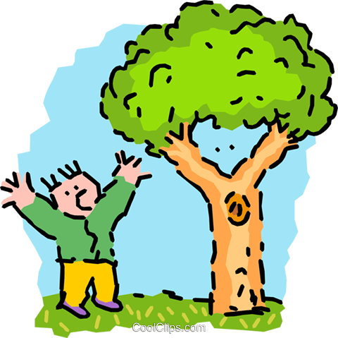 man mimicking tree - cartoon Royalty Free Vector Clip Art illustration peop2547