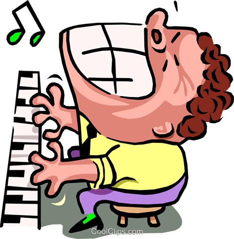 piano man - cartoon Royalty Free Vector Clip Art illustration peop2552