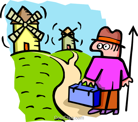 going to the windmills - cartoon Royalty Free Vector Clip Art illustration peop2555
