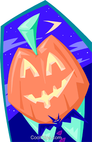 Pumpkin head - abstract Royalty Free Vector Clip Art illustration spec0024