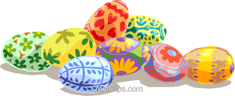 Painted Easter eggs Royalty Free Vector Clip Art illustration spec0036
