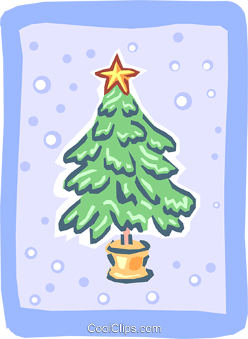 Potted Christmas tree in snow Royalty Free Vector Clip Art illustration spec0049