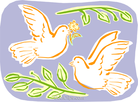 doves and olive branches Royalty Free Vector Clip Art illustration spec0051