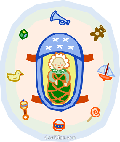 baby in carrier surrounded by toys Royalty Free Vector Clip Art illustration spec0054