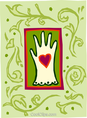 glove and heart Royalty Free Vector Clip Art illustration spec0059