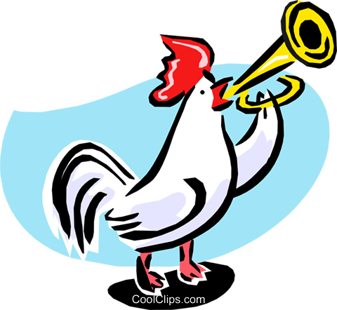 rooster playing reveille Royalty Free Vector Clip Art illustration anim1633